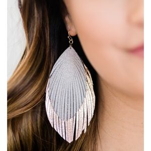 RubyClaire Fringe Leather Metallic Feather Earring